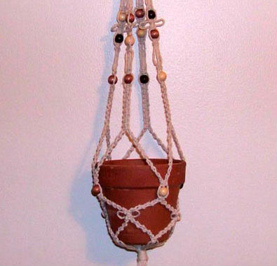 macrame plant hanger with beads